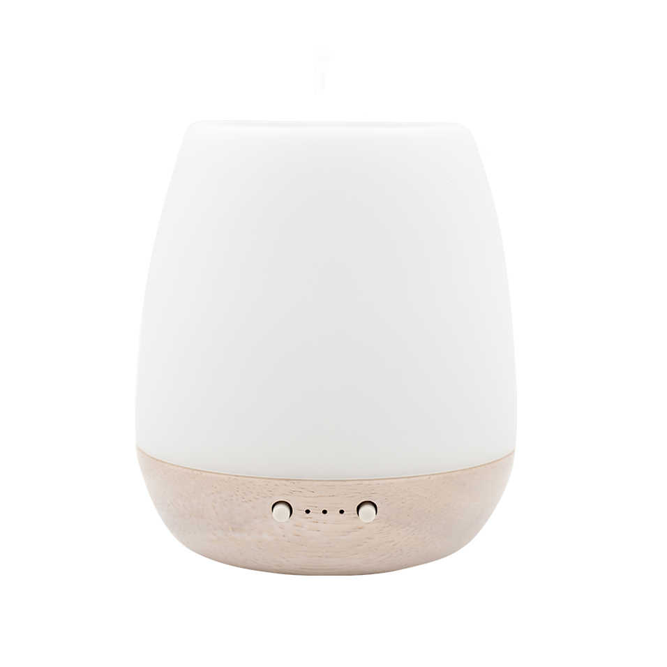 SP-G10 180ml Rubber Wood Glass Ultrasonic Aromatherapy Diffuser