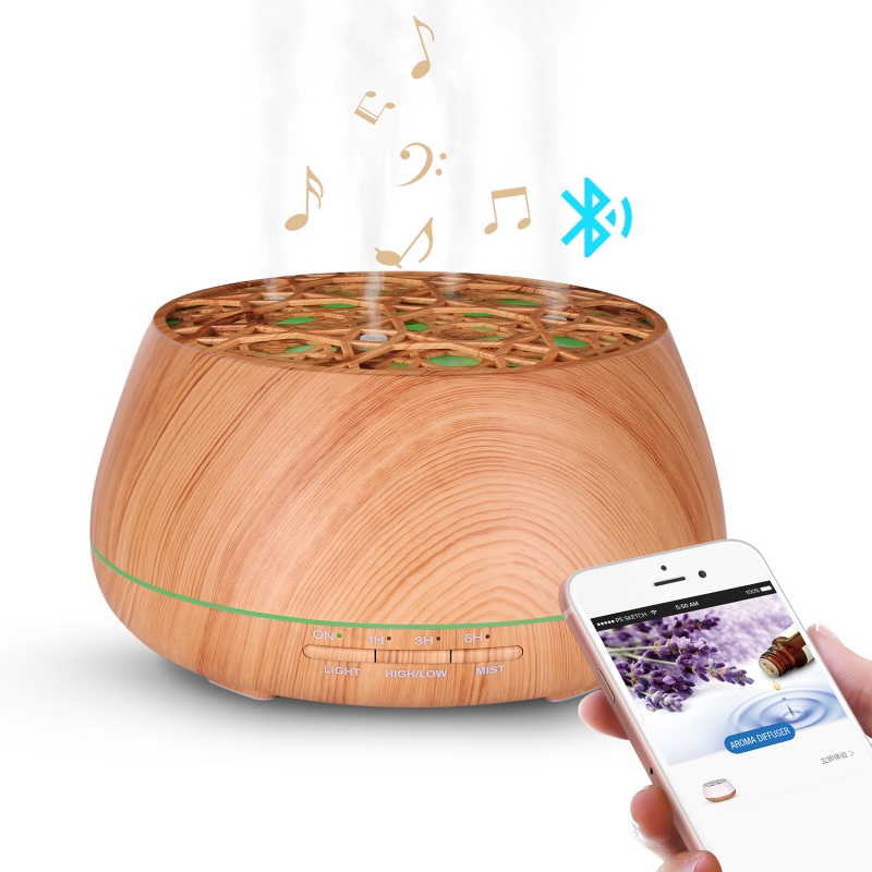 SP-L10M SOICARE 400ml wood grain big mist ultrasonic Aromatherapy whit bluetooth speaker essential oil diffuser