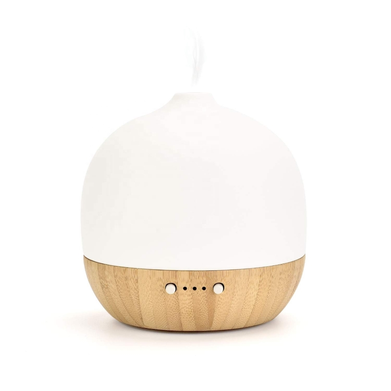 SP-G10B SOICARE 180ml Ultrasonic Air Humidifier Ọnwa Light Aromatherapy Electric Bamboo Ceramic Diffuser